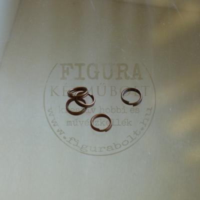 Szerelőkarika, ékszerkarika dupla 6mm vörösréz színű 5db/cs.