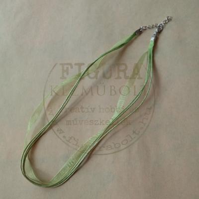 Nyaklánc alap szerelékkel, lánchosszabbítóval, organza és pamutzsinór kb. 43cm ezüst-zöld