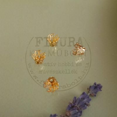 Gyöngykupak, kőfoglalat, harang áttört 7/6mm, lapos fenékkel, arany színű 4db/cs