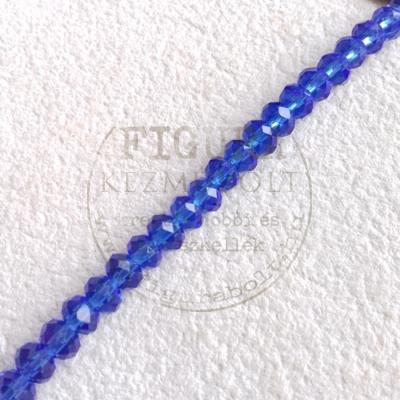 Üveggyöngy fánkgyöngy 3*6mm*22db - Áttetsző kék