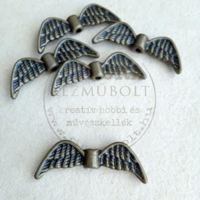 Fém dísz (átfűzhető köztes vagy medál) angyalszárny tollas bronz 20mm
