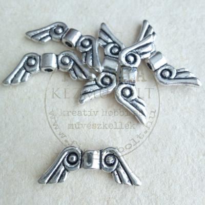 Fém dísz (átfűzhető köztes vagy medál) angyalszárny ezüst görögös 15mm