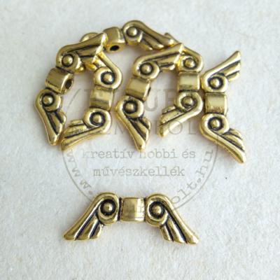 Fém dísz (átfűzhető köztes vagy medál) angyalszárny arany görögös 15mm