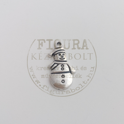 Fém medál ezüst hóember 25*14mm