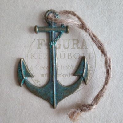 Fém dísz, horgony, vasmacska 40*55mm antikolt bronz