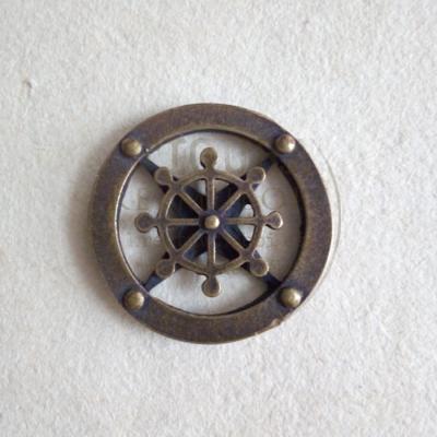 Fém dísz, hajókormány-iránytű 24mm bronz