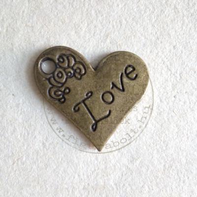Fém medál szív Love 20*21mm bronz
