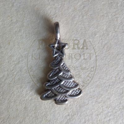 Fém medál fenyőfa csillaggal 10*20mm ezüst