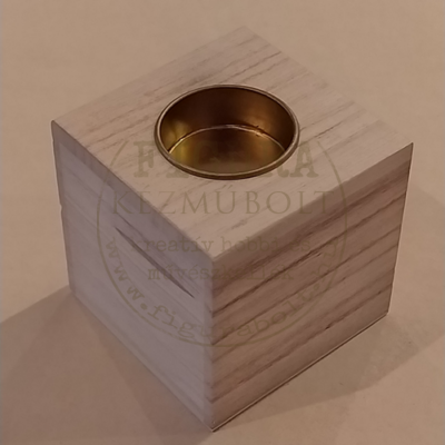 Fa natúr mécsestartó kocka fém betéttel 8*8*8cm