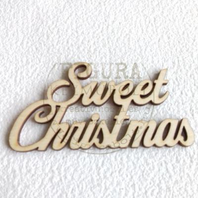 """Fa felirat kétsoros 48*90mm: """"Sweet Christmas"""""""