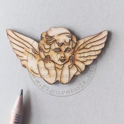 Fa angyal könyöklő, gravírozott 3,3*6cm natúr