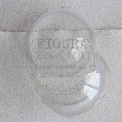 Műanyag gömb félbe vehető 16cm - átlátszó