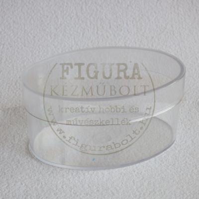 Műanyag ovál doboz, levehető tetővel 70*100*50mm - átlátszó