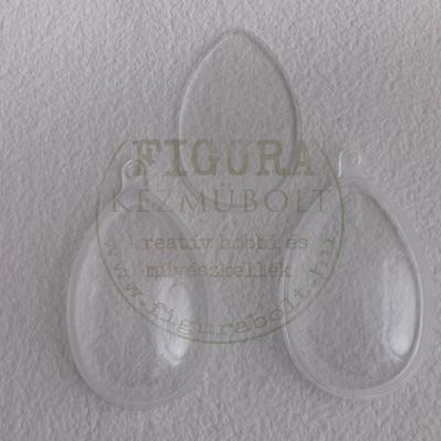 Műanyag tojás félbe vehető 12cm felezőlappal - átlátszó