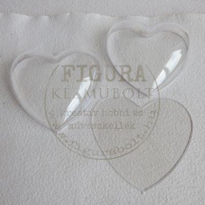 Műanyag szív félbe vehető 10cm felezőlappal - átlátszó